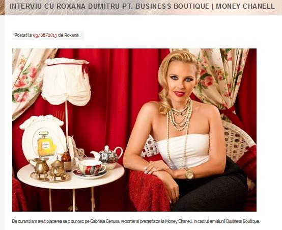 interviu cu roxana dumitru pentru money chanell